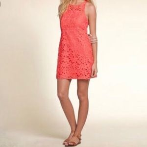 NWT Ladies Hollister coral crochet floral dress